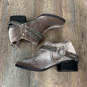 Not Rated grey lavender velvet booties ankle boots